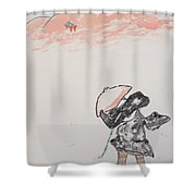 Japanese Shrine And Isolated Monk Shower Curtain