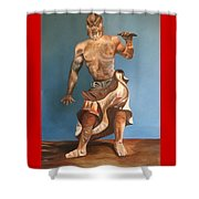 Japanese Temple Guard Shower Curtain