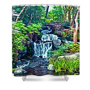 Japanese Waterfall Garden Shower Curtain