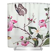 Japonica Magnolia And Butterflies Shower Curtain