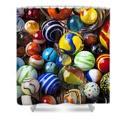 Jar Of Marbles Shower Curtain by Garry Gay