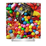 Jar Spilling Bubblegum With Candy Shower Curtain by Garry Gay