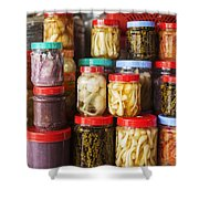 Jars Of Asian Style Pickles In Kep Market Cambodia Shower Curtain