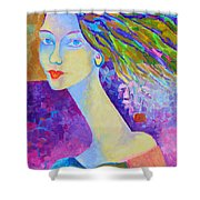 Modigliani Style Portrait Of A Woman Painting Colorful  Shower Curtain