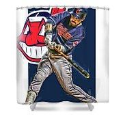 Jason Kipnis Cleveland Indians Oil Art Shower Curtain
