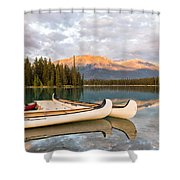 Jasper Lake Canoes Shower Curtain