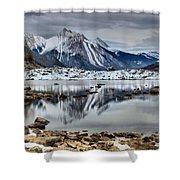 Jasper Medicine Lake Reflections Shower Curtain