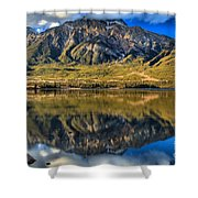 Jasper Pyramid Lake Reflections Shower Curtain