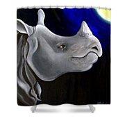 Javan Rhino Shower Curtain