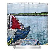 Jaws - Beach Graffiti Shower Curtain