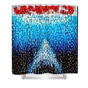 Jaws Horror Mosaic Shower Curtain by Paul Van Scott