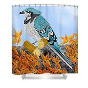 Jay With Corn And Leaves Shower Curtain