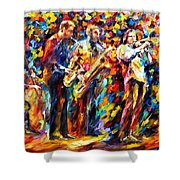 Jazz Band - Palette Knife Oil Painting On Canvas By Leonid Afremov Shower Curtain