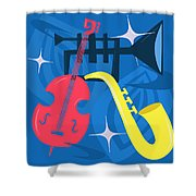 Jazz Composition With Bass, Saxophone And Trumpet Shower Curtain