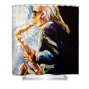 Jazz Man Shower Curtain by Karen  Ferrand Carroll