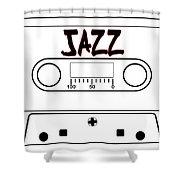 Jazz Music Tape Cassette Shower Curtain