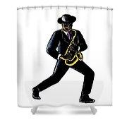 Jazz Musician Playing Saxophone Scratchboard Shower Curtain