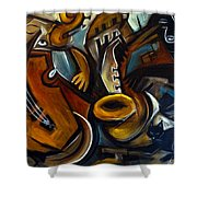Black Cat Jazzz Shower Curtain