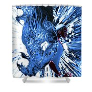 Jd And Leo- Inverted Ice Blue Shower Curtain