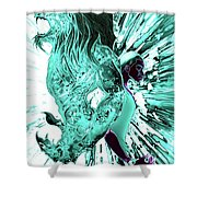 Jd And Leo- Inverted Lite Blue Shower Curtain