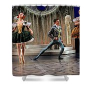 Jealous Stepsister Ballerinas En Pointe With Guests At The Ball  Shower Curtain