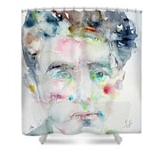 Jean Cocteau - Watercolor Portrait.2 Shower Curtain