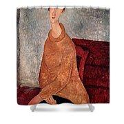 Jeanne Hebuterne In A Yellow Jumper Shower Curtain by Amedeo Modigliani