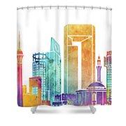 Jeddah Landmarks Watercolor Poster Shower Curtain