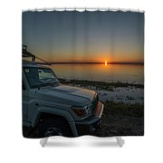 Jeep Driver Watching Sunset Over Peaceful River Shower Curtain