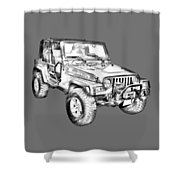 Jeep Wrangler Rubicon Illustration Shower Curtain