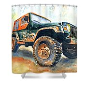Jeep Wrangler Watercolor Shower Curtain