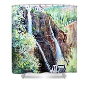 Jeeping At Bridal Falls  Shower Curtain