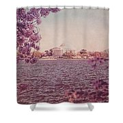 Jefferson Memorial During Spring Shower Curtain