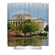 Jefferson Memorial, Springtime In Dc Is When Things Bloom, Like The Japanese Cherry Trees Shower Curtain