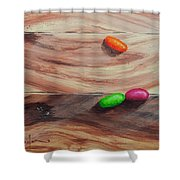Jelly Beans On Wood Shower Curtain