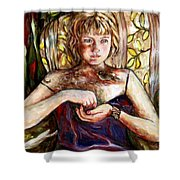 Girl And Bird Painting Shower Curtain