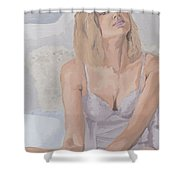 Jenny In White Shower Curtain