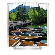 Jenny Lake Boats Shower Curtain
