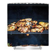 Jerk Chicken On Grill Shower Curtain