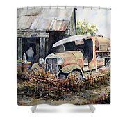 Jeromes Tank Truck Shower Curtain