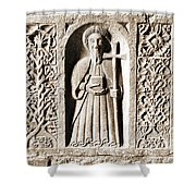 Jerpoint Abbey Weepers Saints James Philip And Matthias County Kilkenny Ireland Sepia Shower Curtain