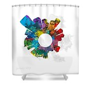 Jersey City Small World Cityscape Skyline Abstract Shower Curtain