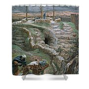 Jesus Alone On The Cross Shower Curtain by Tissot