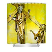 Jesus Carries The Cross Shower Curtain