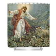 Jesus Christ The Tender Shepherd Shower Curtain