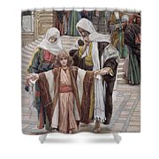 Jesus Found In The Temple Shower Curtain by Tissot