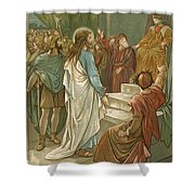 Jesus In Front Of Pilate Shower Curtain