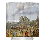Jesus Preaching On The Shores Of The Sea Of Galilee Shower Curtain