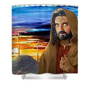 Jesus Sees Us Shower Curtain