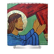 Jesus Takes Up His Cross Shower Curtain